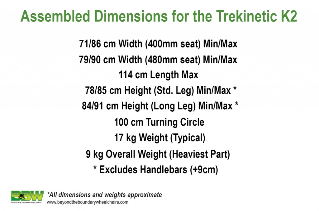 Assembled dimensions for the Trekinetic K2 manual wheelchair.
