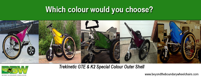 Choose the colour of your all terrain Trekinetic K2 manual wheelchair to fit your style.